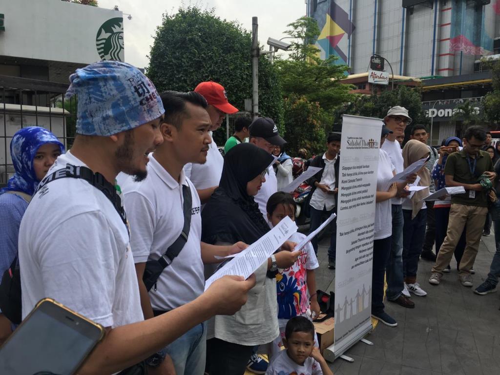 Sahabat Tmarin peringati tiga tahun bom Thamrin. Foto: Medcom.id/Kautsar Widya Prabowo.