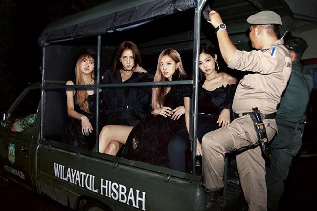 Hasil manipulasi foto Blackpink ditangkap polisi syariah Aceh karya seniman visual Agan Harahap (Foto: Instagram @aganharahap)