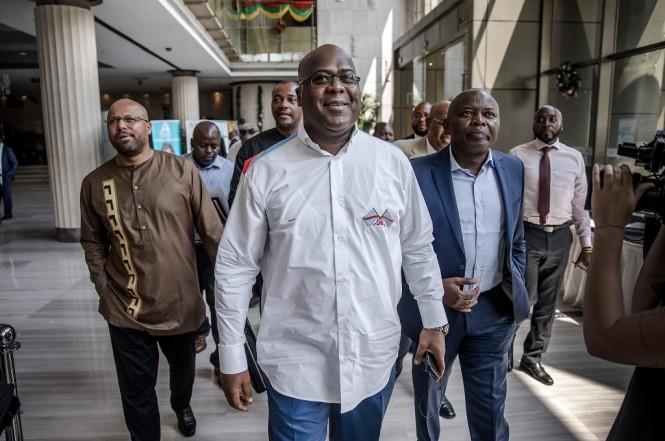 Felix Tshisekedi (tengah) dinyatakan menang dalam pemilu RD Kongo yang digelar pada 30 Desember 2018. (Foto: AFP/LUIS TATO)