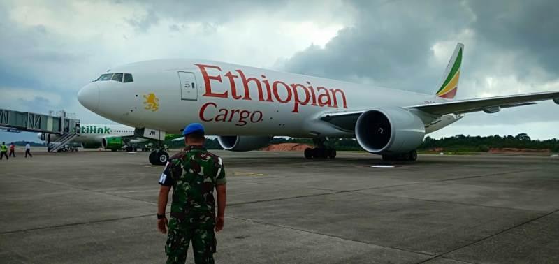 Pesawat Ethopian Airlines dikejar dan dipaksa mendarat oleh F-16 milik TNI AU, Senin, 14 Januari 2019.(Foto-foto TNI AU)