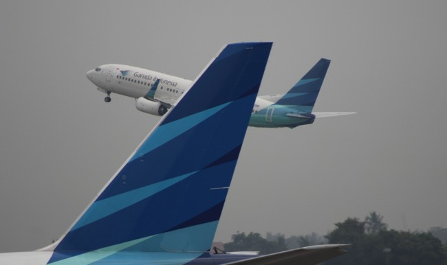 Pesawat Garuda Indonesia. MI/Amiruddin Abdullah.