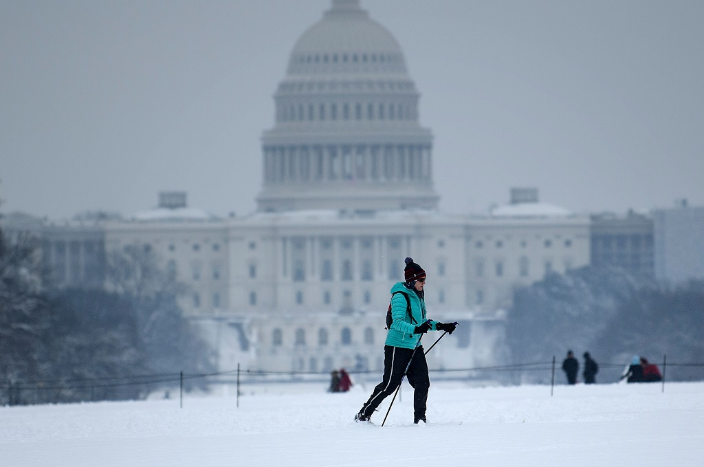 Seorang warga bermain ski di area US Capitol Hill di Washington, AS, 13 Januari 2019. (Foto: AFP/BRENDAN SMIALOWSKI)