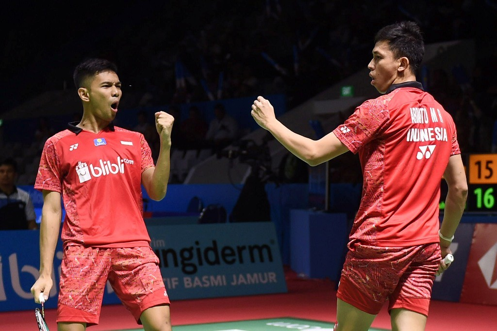 Fajar Alfian/Muhammad Rian Ardianto saat tampil di ajang Indonesia Open 2018. (Foto: ANTARA/Akbar Nugroho Gumay)