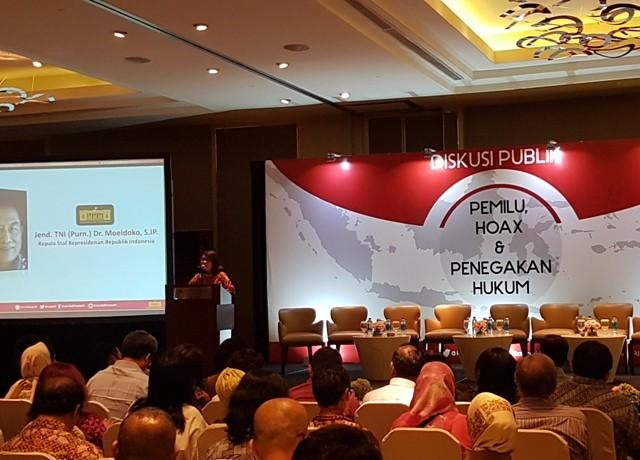 Ilustrasi-Suasana diskusi publik 'Hoax dan Penegakan Hukum' di Hotel Pullman, Thamrin, Jakarta, Selasa, 15 Januari 2019--Medcom.id/Damar Iradat.
