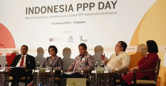Kepala Bappenas Bambang Brodjonegoro saat berbicara di IPP Day Singapura. (Foto: dok Bappenas)