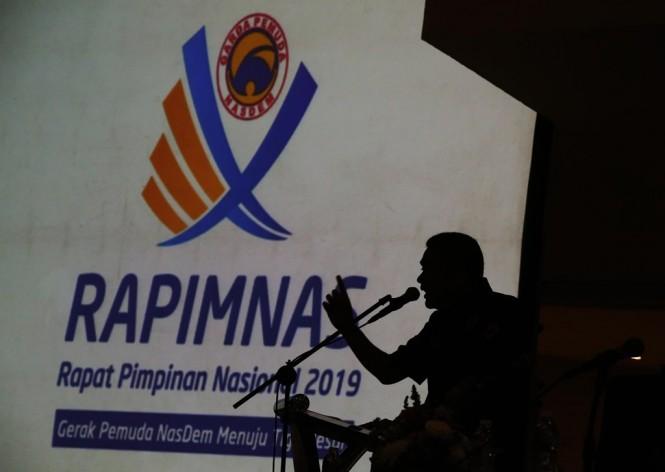 Ketua Umum Garda Pemuda NasDem Prananda Surya Paloh dalam Rapimnas GP NasDem. MI/Ramdani.