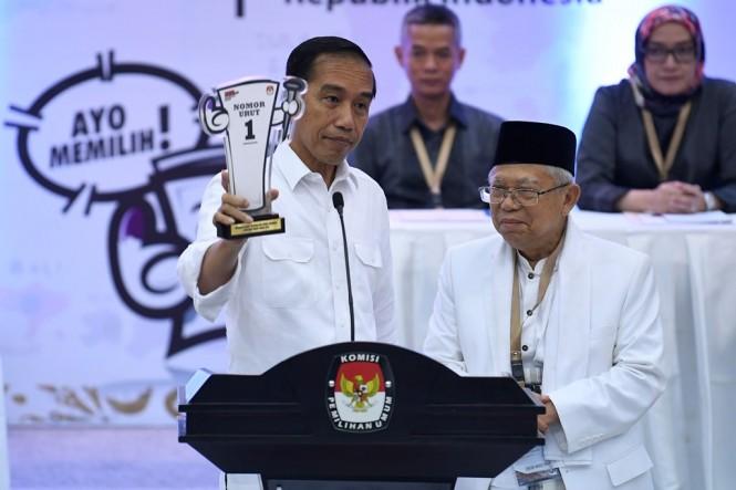 Calon presiden nomor urut 01 Joko Widodo dan Ma'ruf Amin. ANT/Puspa Perwitasari.