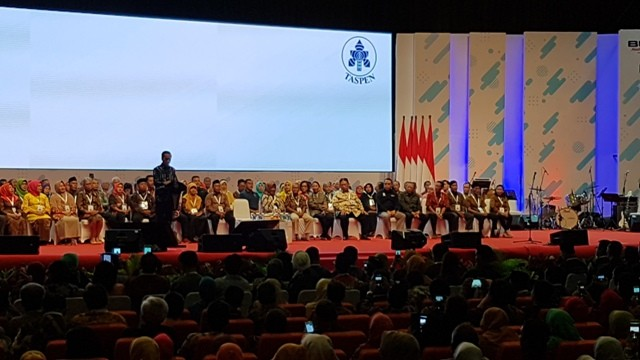 Presiden Jokowi berpidato di hadapan ASN dan pensiunan abdi negara/Medcom.id/Damar Iradat