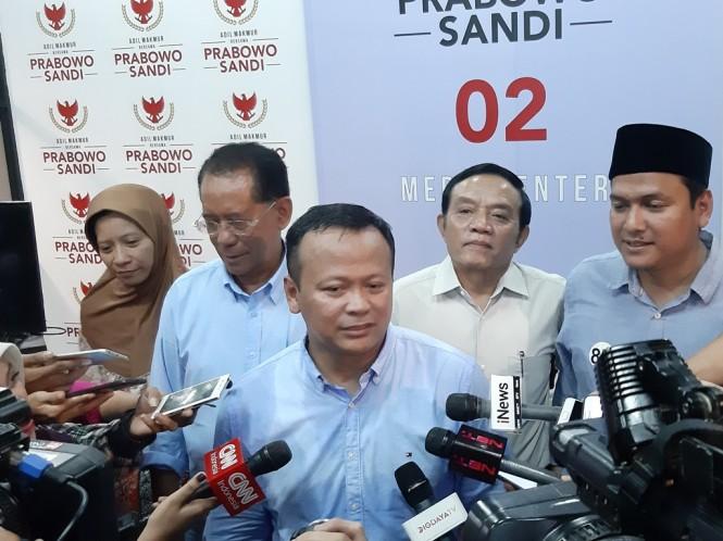 Anggota Badan Pemenangan Nasional (BPN) Prabowo-Sandi, Edhy Prabowo (tengah). Foto: Medcom.id/Whisnu Mardiansyah.