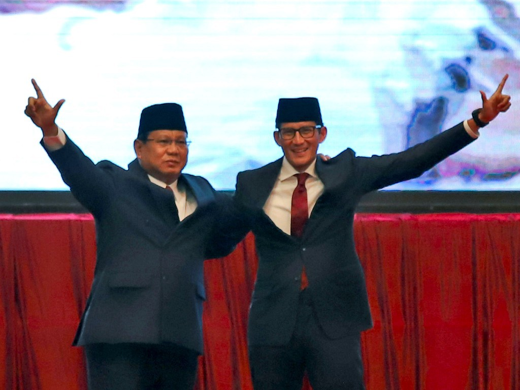 Calon Presiden dan Wakil Presiden nomor urut 02 Prabowo Subianto (kiri) dan Sandiaga Uno (kanan). Foto: Antara/Galih Pradipta.