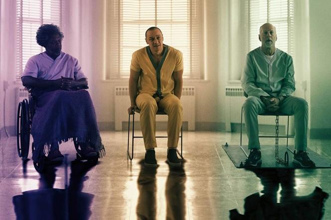 Tiga karakter utama film Glass, Mr Glass (kiri), Kevin Wendell Crumb (tengah) dan David Dunn (kanan) (Foto: Universal)
