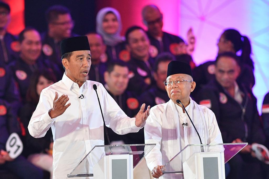 Pasangan nomor urut 01 Joko Widodo dan Ma'ruf Amin. ANT/Sigid Kurniawan.
