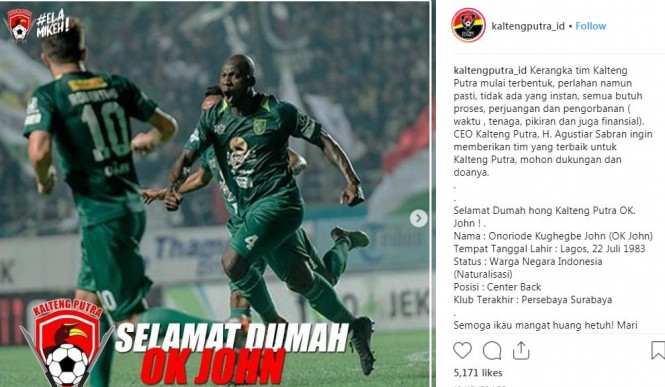 Capture Instagram Kalteng Putra