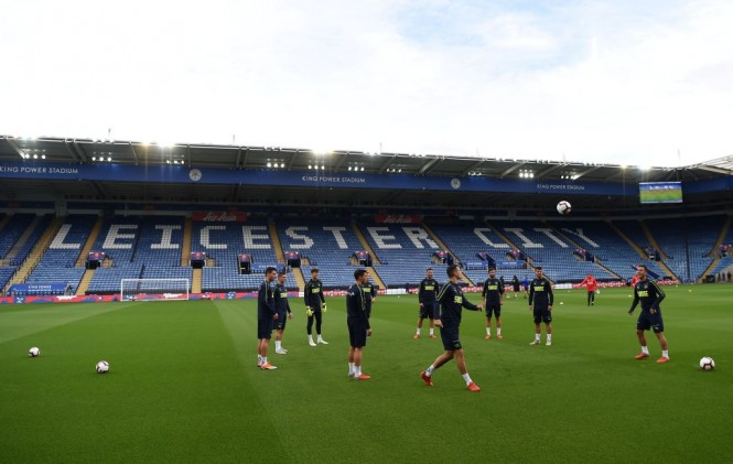 Momen saat para pemain Leicester City melakoni sesi latihan (Foto: AFP/Paul Ellis)