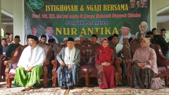 Cawapres nomor urut 01 Ma'ruf Amin di Ponpes Nur Antika, Tigaraksa, Tangerang, Banten. (Dok. Tim Kampanye Nasional Jokowi-Ma'ruf)