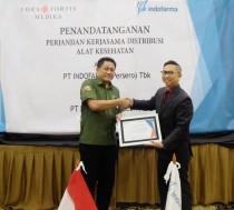 Penandatangan perjanjian kerjasama distribusi alat kesehatan antara Indofarma dengan PT Fors Fortis Merdeka - Medcom.id/Achmad Zulfikar Fazli.
