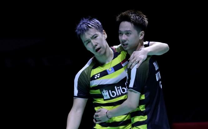 Marcus Fernaldi Gideon/Kevin Sanjaya Sukamuljo saat tampil di China Open 2018. (Foto: Humas PBSI)