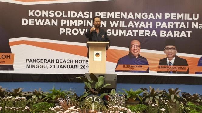 Ketum NasDem Surya Paloh di Padang/Medcom.id/Faisal Abdalla