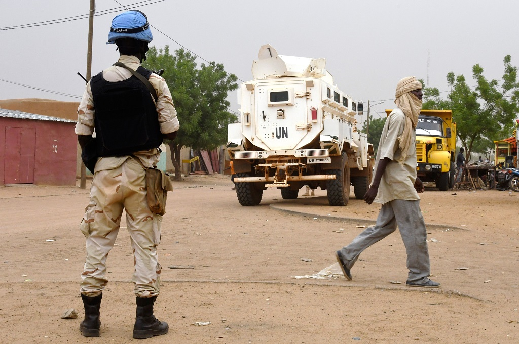 Pasukan penjaga perdamaian PBB berpatroli di .Gao, Mali timur, 3 Agustus 2018 (Foto: AFP/SEYLLOU)