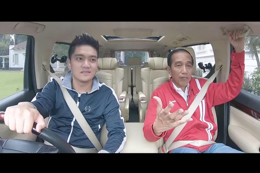Boy William bersama Presiden Jokowi dalam program Nebeng Boy (Foto: YouTube Boy William)
