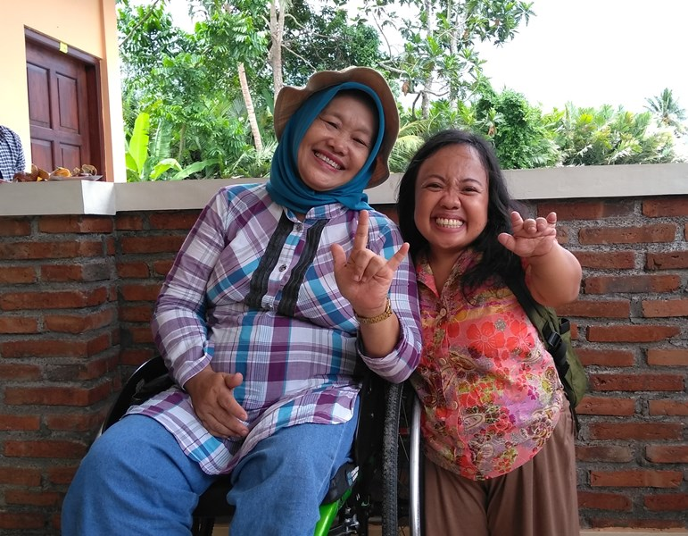 Difabel asal Kota Yogyakarta, Anggia Sari Puji (kanan), Senin, 21 Januari 2019. Medcom.id/ Patricia Vicka.