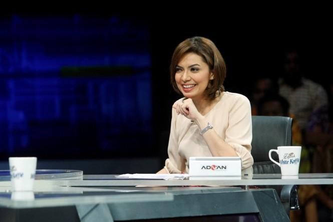 Najwa Shihab saat membawakan acara Mata Najwa. Foto: MI/Rommy Pujianto