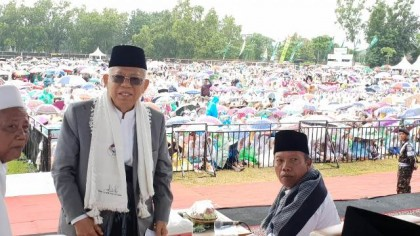 Ma'ruf Visits Trenggalek, Attends Prayer Event