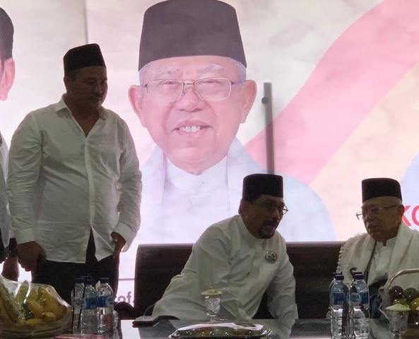 Cawapres nomor urut 02 Ma'ruf Amin didampingi Ketua TKD Jatim Machfud Arifin saat hadiri istighasah di Trenggalek. (Dok: TKD Jatim)