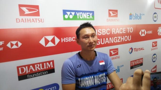 Sony Dwi Kuncoro saat tampil di Indonesia Masters 2019. (Foto: medcom.id/Kautsar Halim)