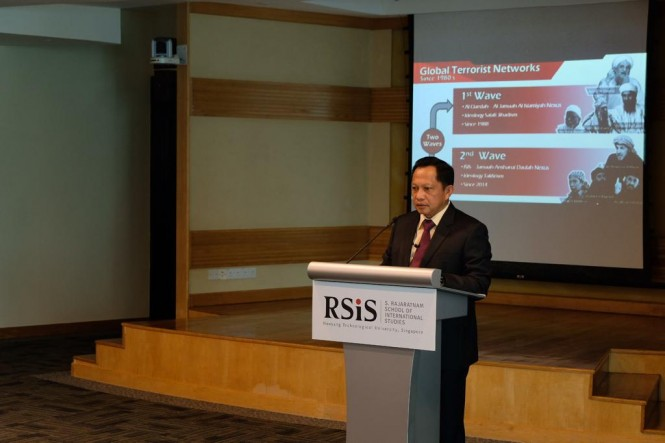 Kapolri Jenderal Muhammad Tito Karnavian saat memberikan kuliah tentang penanggulangan terorisme, di Nanyang Technological University (NTU) Singapura, Rabu 23 januari 2019. Istimewa