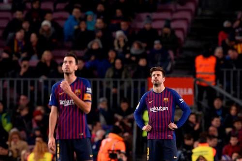 Gerard Pique dan Sergio Busquets  (Foto:AFP/JOSEP LAGO )