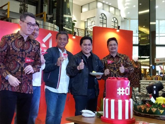 Suasana peluncuran merchandise pasangan calon (paslon) 01 Joko Widodo-Ma'ruf Amin--Medcom.id/Siti Yona Hukmana.