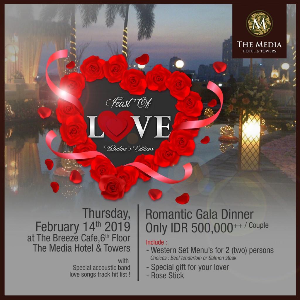 Feast of Love Valentine's berlangsung pada 14 Februari mulai pukul 18.00.
