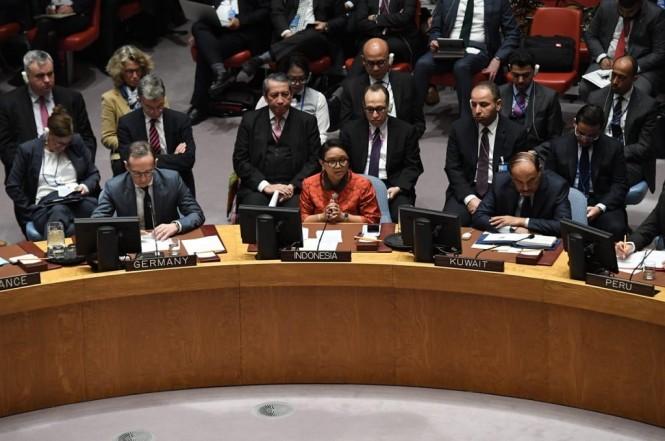 Menlu Retno Marsudi (tengah) di Markas Besar PBB, New York, Amerika Serikat, 25 Januari 2019. (Foto: Kemenlu RI)