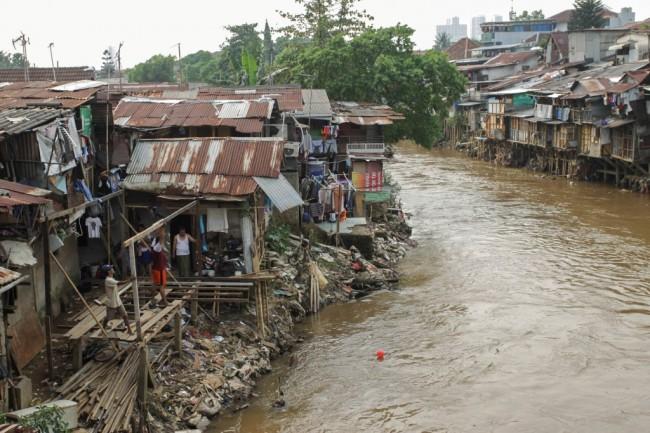 Warga membangun rumah semi permanen di bantaran Sungai Ciliwung di kawasan Manggarai, Jakarta. Foto MI/Pius Erlangga.