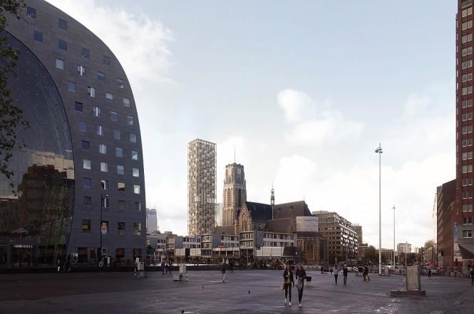 Suasana di sekitar bangunan berlantai 43 yang merupakan bekas kantor pos di Rotterdam, Dezeen