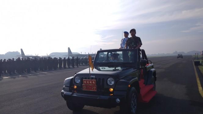 Panglima TNI Marsekal Hadi Tjahjanto saat upacara Gelar Operasi Penegakan Ketertiban (Ops Gaktib) dan Yustisi POM TNI 2019.