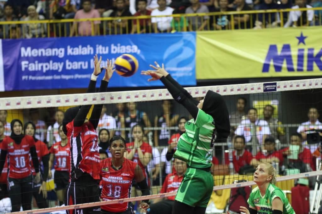 Tim putri Jakarta Pertamina Energi (JPE) melawan Jakarta BNI 46. (Foto: Humas Proliga 2019)