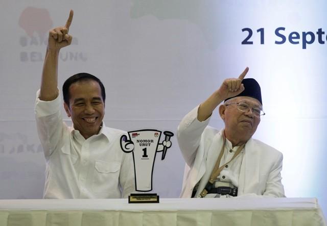 Pasangan Calon Presiden dan Wakil Presiden nomor urut 01 Joko Widodo dan Ma'ruf Amin. MI/ Ramdani