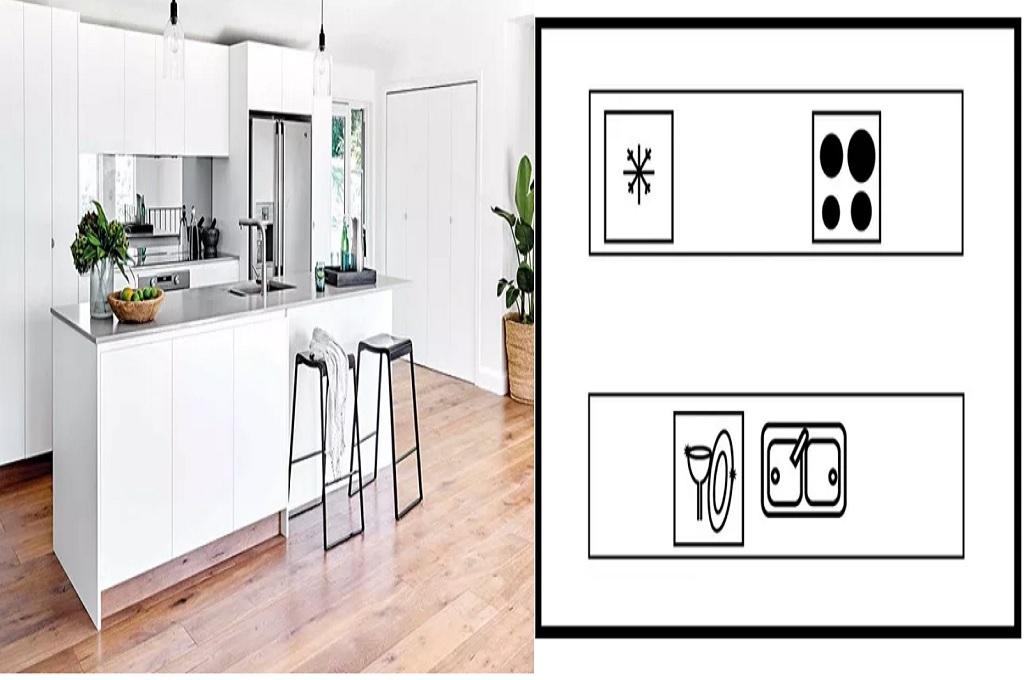 Desain dapur berbentuk gang, Foto: Homebeautiful/Sue Stubbs