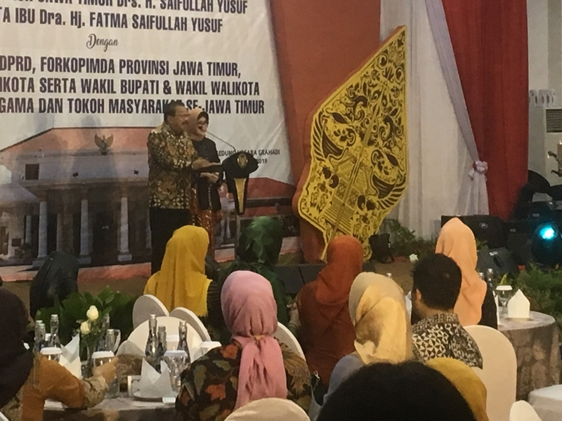 Suasana acara perpisahan Gubernur Soekarwo dan Wakil Gubernur Jatim Saifullah Yusuf alias Gus Ipul. Medcom.id/Amaluddin