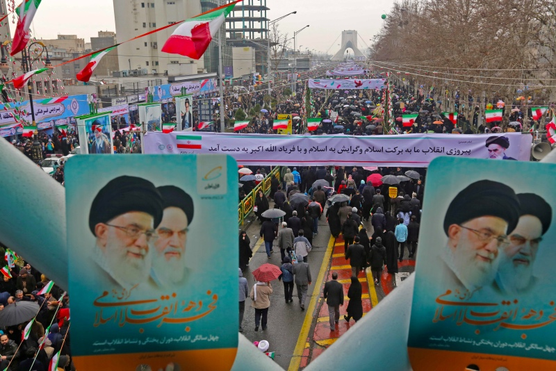Warga Iran merayakan peringatan 40 tahun Revolusi Iran. (Foto: AFP).
