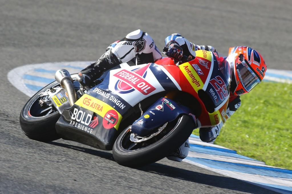 Aksi Sam Lowes saat menjajal motornya di Jerez Spanyol. Gresini Racing
