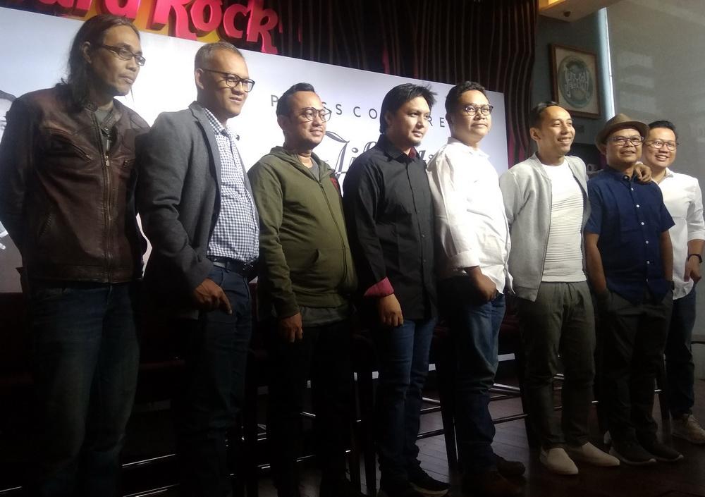 Jumpa pers konser Jikustik Reunian di Hars Rock Cafe, Jakarta Selatan, Selasa 12 Februari 2019. (Foto: Medcom.id/Cecylia Rura)