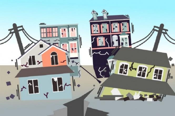 Ilustrasi bangunan rusak akibat gempa, Medcom.id (Budi Arista Romadhoni)