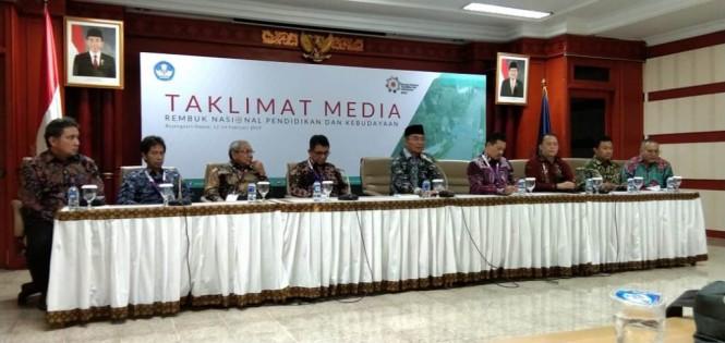 Mendikbud, Muhadjir Effendy beserta jajarannya saat Taklimat Media di RNPK 2019, Medcom.id/Citra Larasati.