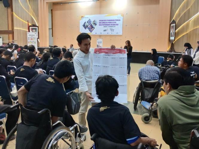 Komisi Pemilihan Umum (KPU) melakukan sosialisasi pemilihan umum serentak 2019 kepada ratusan penyandang disabilitas. (Foto: Medcom.id/Faisal Abdalla)