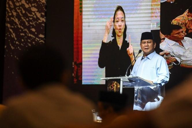 Calon presiden nomor urut 02 Prabowo Subianto. ANT/Hafidz Mubarak.