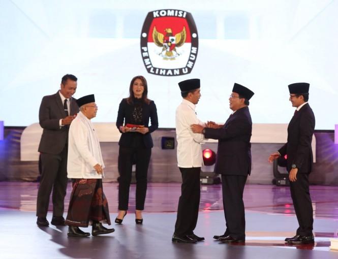 Debat Pilpres 2019 mempertemukan pasangan Joko Widodo-Ma'ruf Amin dengan Prabowo Subianto-Sandiaga Uno. Foto: MI/Ramdani.