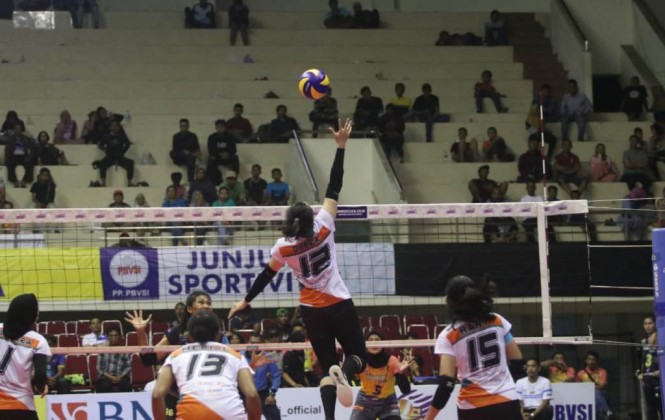 Tim putri Jakarta BNI 46 melawan Bandung Bank BJB Pakuan di GOR Ken Arok, Malang, Minggu 17 Februari 2019. (Foto: Humas Proliga)